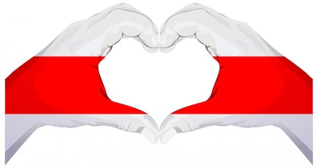 Nova bandeira de faixa vermelha branca da bielorrússia duas mãos fazem o símbolo do coração de amor
