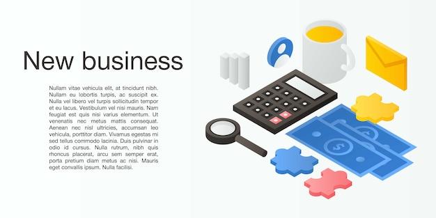 Nova bandeira do conceito de negócio, estilo isométrico