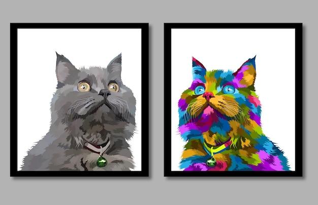 Nova coleção cat pop art retrato em moldura isolada decoração