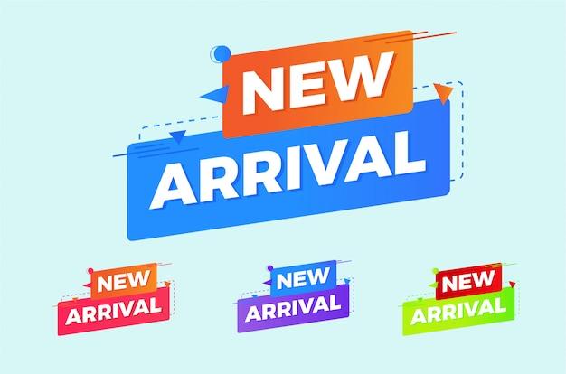 Nova coleção de banner de marca de chegada na cor brilhante