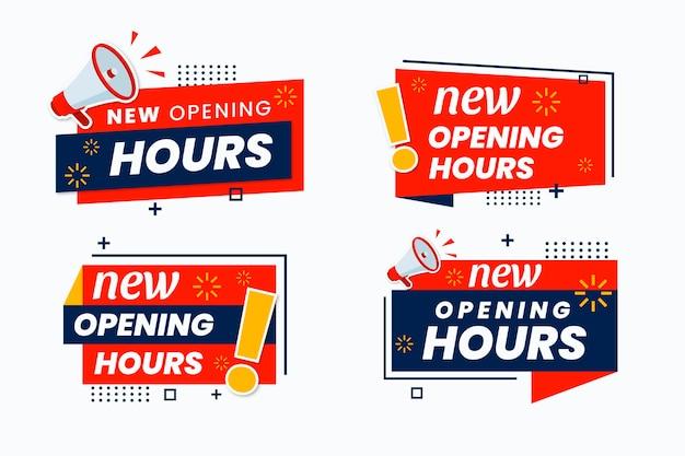 Nova coleção de sinais de horário de funcionamento