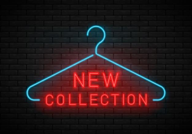 Nova coleção de sinal de néon. cabide, nova chegada.
