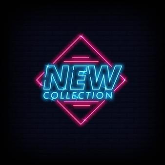 Nova coleção neon signs text vector