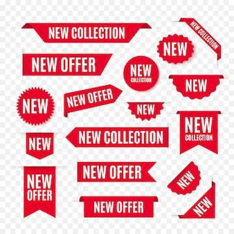 Nova coleção oferta de etiquetas e rótulos.