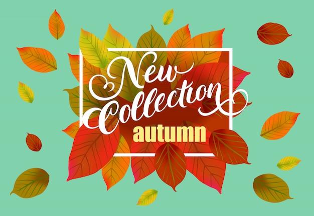 Nova coleção outono letras com folhas caindo.