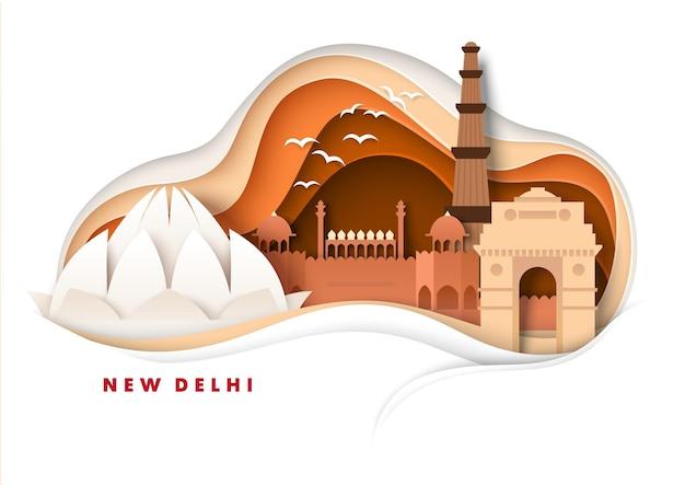 Nova deli cidade horizonte vetor papel corte ilustração índia portão templo de lótus mundialmente famosos marcos ...