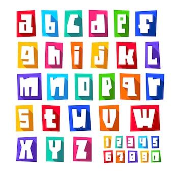 Nova fonte, letras brancas cortadas, minúsculas
