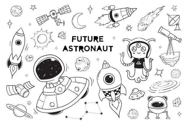 Nova galáxia e doodle de astronauta