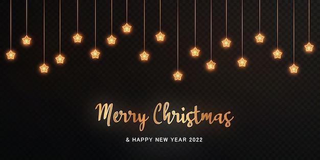 Nova guirlanda de natal 2022 de estrelas douradas e linhas douradas luminosas pó de luz de natal