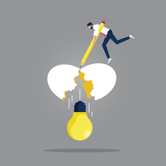Nova ideia criativa e inovação para o conceito de sucesso