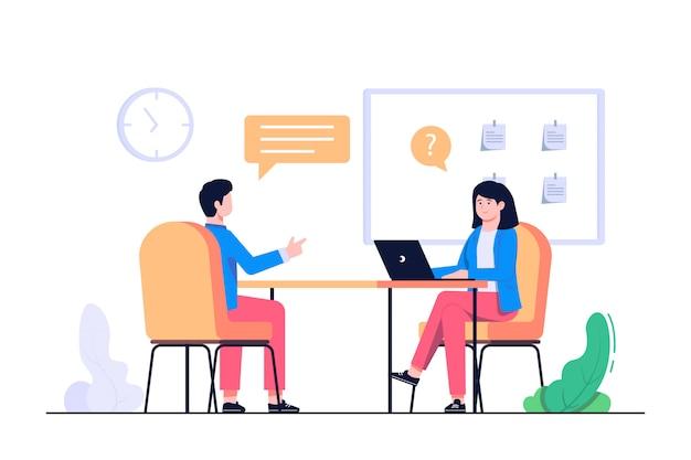Nova ilustração de conceito de entrevista de trabalhador