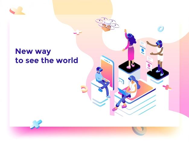 Nova ilustração de tecnologia de maneira