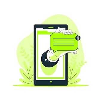 Nova ilustração do conceito de mensagem
