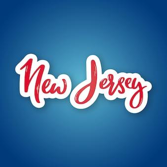 Nova jersey desenhada à mão com letras com o nome do estado dos eua