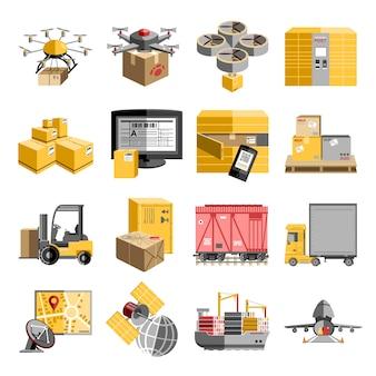Nova logística não tripulada descentralizada entrega coleção de pictogramas plana com drone voador