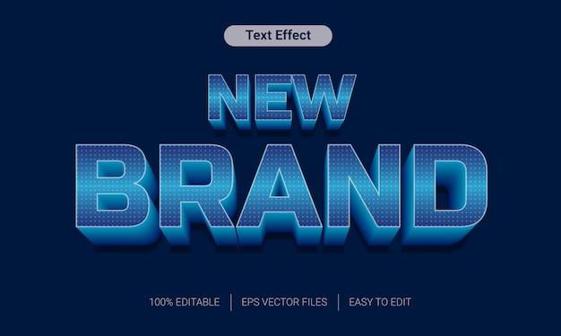 Nova marca com gradiente azul e efeito de texto 3d de pontos