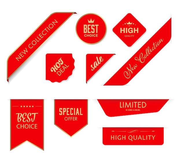 Nova marca fita e banner vector emblemas vermelhos.