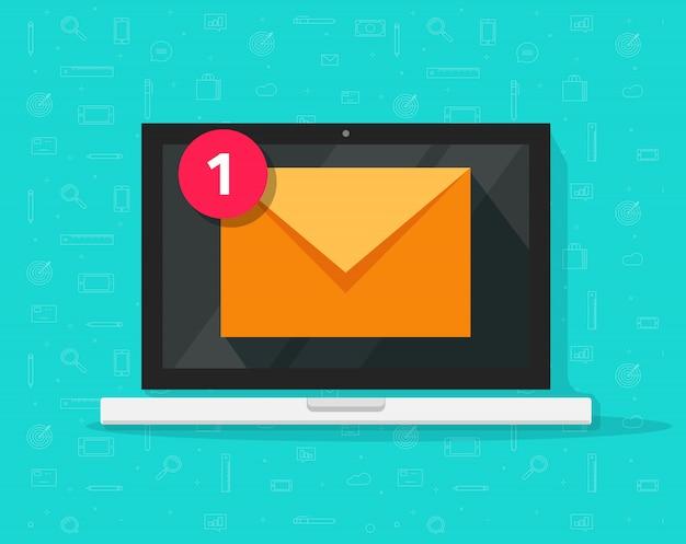 Nova mensagem de email no laptop