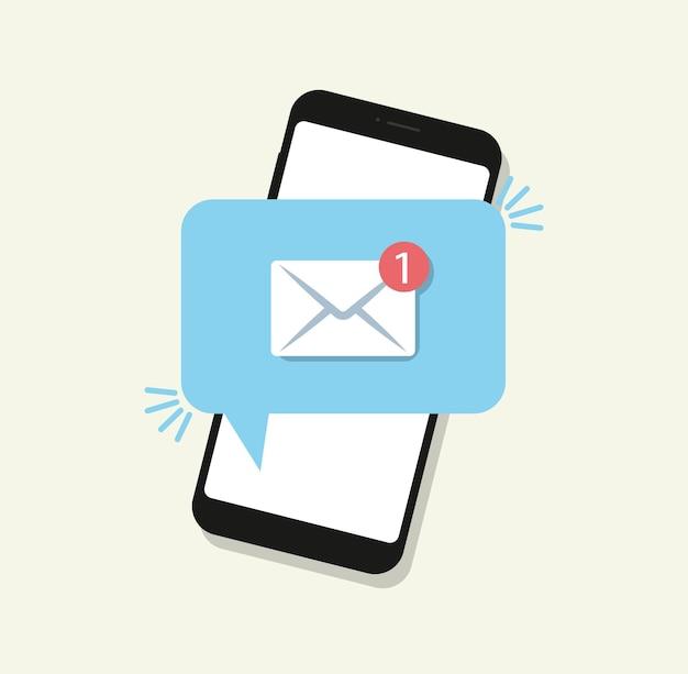 Nova mensagem em estilo simples. notificação por telefone. .