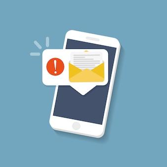 Nova mensagem na tela do smartphone. ilustração vetorial