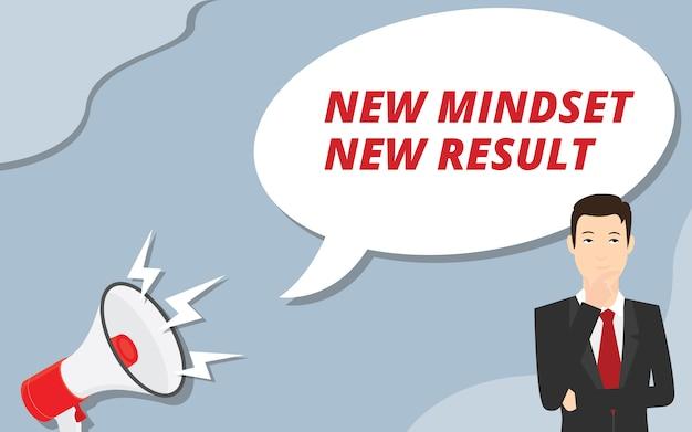 Nova mentalidade novo resultado com homem de negócios pensar sobre