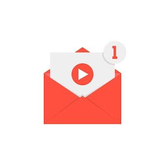 Nova notificação de vídeo em letra vermelha. conceito de e-mail, compartilhamento de filme, canal, chat, transmissão ao vivo, monetizar, arquivo, seo. isolado no fundo branco. ilustração em vetor design de logotipo moderno tendência plana