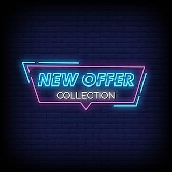 Nova oferta coleção tabuleta de néon na parede de tijolo
