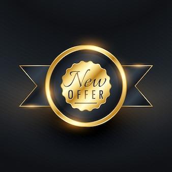 Nova oferta de etiqueta dourada e design de crachá para sua promoção de marca