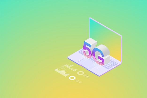 Nova rede sem fio 5g isométrica a próxima geração de comunicações pela internet, internet das coisas na conectividade do smartphone.
