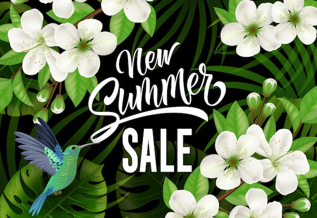 Nova rotulação de venda de verão com beija-flor e flores.