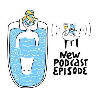 Nova rotulação de vetor de episódio de podcast podcast e conceito de multitarefa garota ouve podcasts