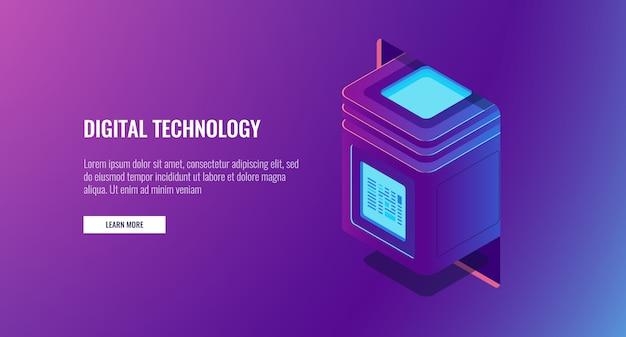 Nova tecnologia digital, sala de servidores, bloco de computadores com informações protegidas