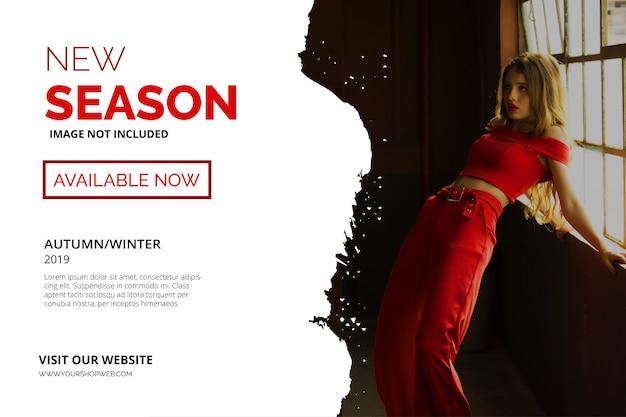 Nova temporada modelo de banner vermelho