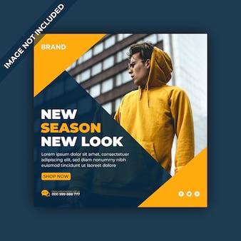 Nova temporada, novo visual, banner de venda de mídia social e postagem no instagram