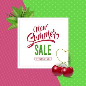 Nova venda de verão letras com cerejas. oferta de verão ou publicidade de venda