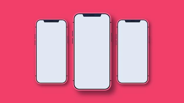 Nova versão de smartphones vermelhos com tela branca em branco