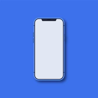 Nova versão do smartphone azul com tela branca em branco
