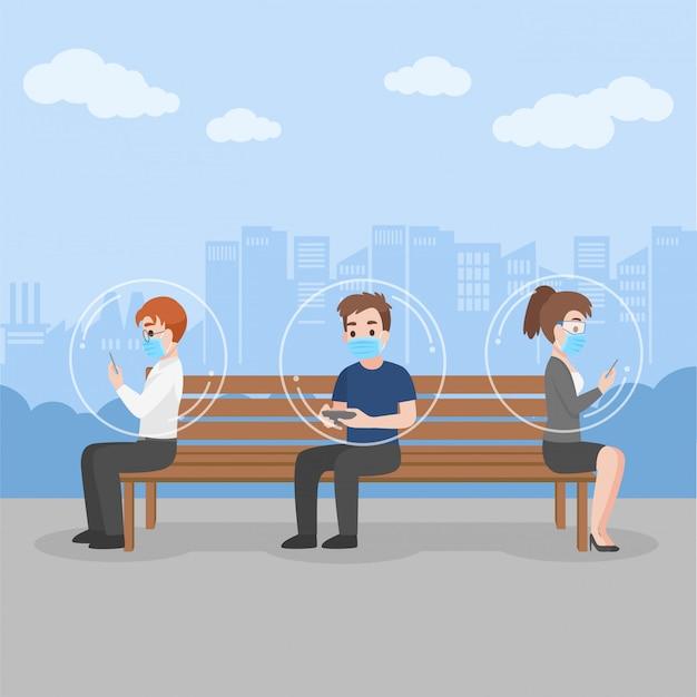 Nova vida normal as pessoas dentro da bolha mantêm o distanciamento social