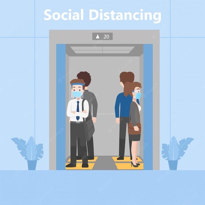 Nova vida normal as pessoas em trajes de negócios distanciam-se socialmente em pé no elevador em sinal de pegada