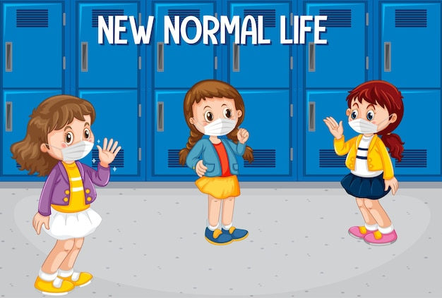 Nova vida normal com alunos mantendo distanciamento social na escola