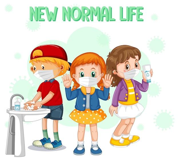 Nova vida normal com crianças usando máscara