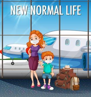 Nova vida normal com família feliz pronta para viajar no aeroporto
