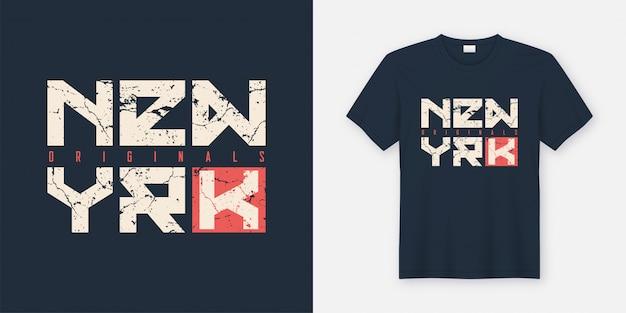 Nova york texturizada t-shirt e vestuário design, tipografia, impressão,