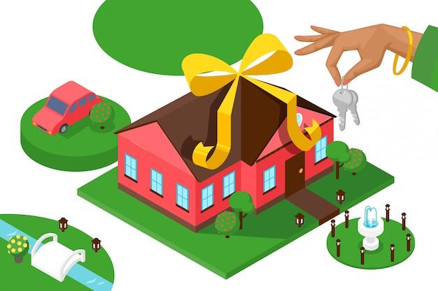 Novas chaves de casa, apresentação isométrica. casa geométrica, carro e gramado, campanha imobiliária. empréstimo bancário para compra de casa nova, mão segurando as chaves