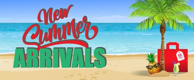 Novas chegadas de verão, grande banner de venda. bebida fria, abacaxi, óculos de sol, palma, saco vermelho