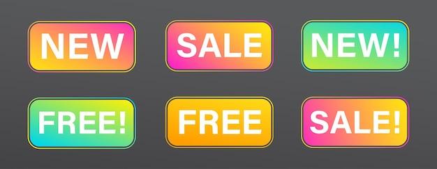 Novas etiquetas de produtos de loja para promoção de vendas