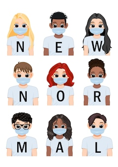 Novas letras normais no fundo da camisa branca e diversos meninos e meninas usando máscara médica