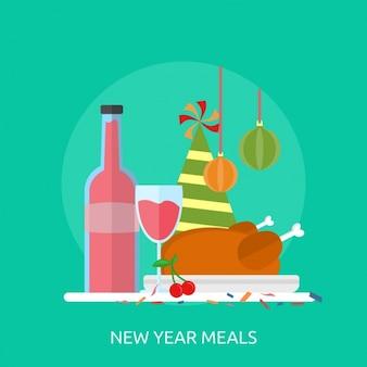 Novas refeições ano o projeto do fundo