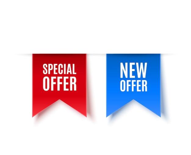 Novas tags de oferta e oferta especial isoladas em ilustração vetorial de branco