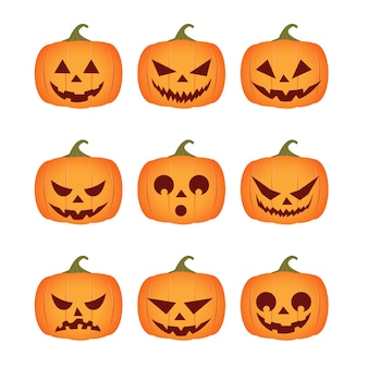 Nove abóboras com emoções diferentes isoladas para o halloween